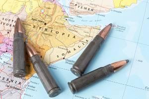 Kugeln auf der Karte von Äthiopien und von Somalia