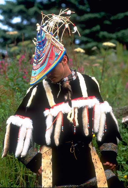 "Alutiiq dancer during the biennial ""Celebration"" cultural event."