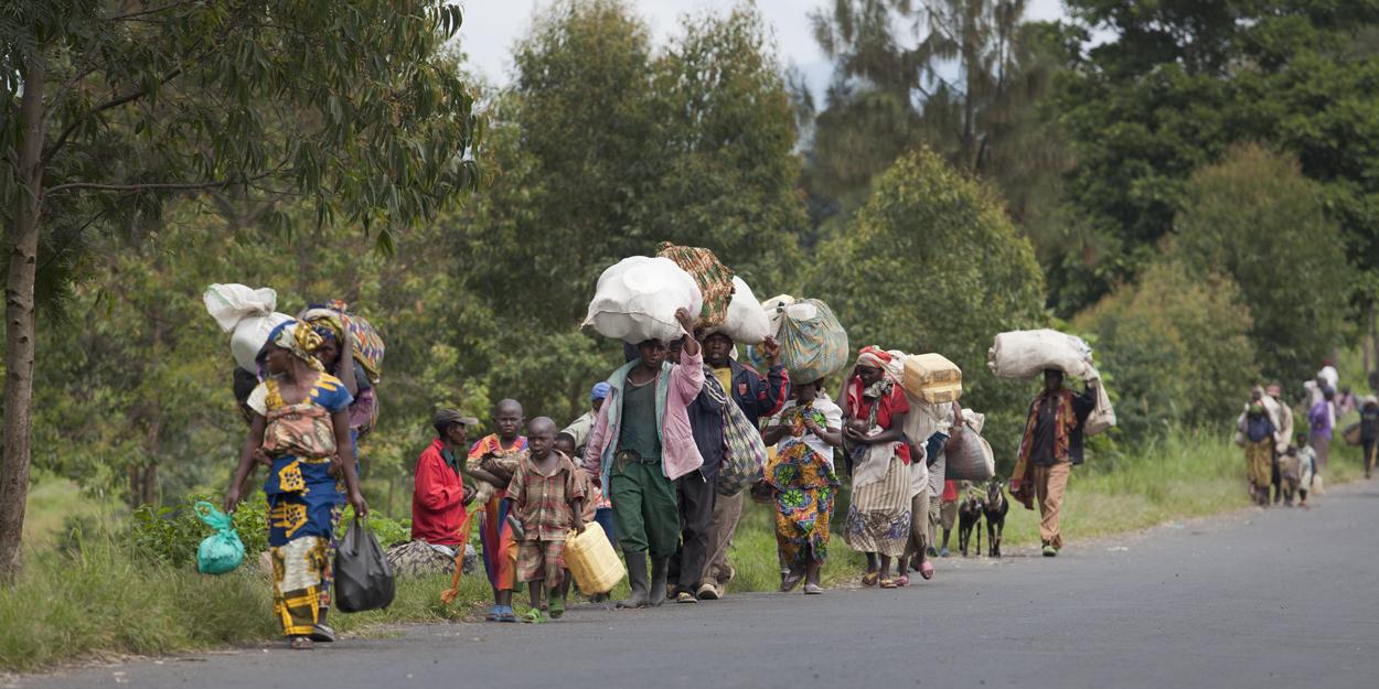 Flüchtlinge kommen in der Demokratischen Republik Kongo an.