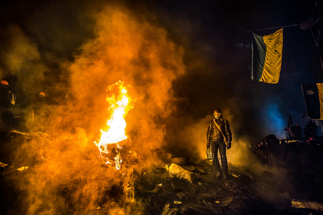 Barricade with the protesters at Hrushevskogo street on January 25, 2014 in Kiev