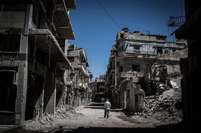 Zerstörte Stadt in Syrien