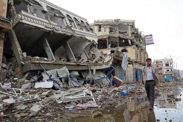 Die Stadt Sa'ada nach Luftangriffen