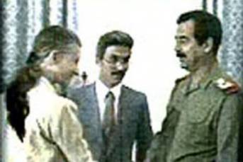 Saddam Hussein uns US-Botschafterin April Glaspie