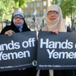Jemenitische Aktivistinnen Zwei jemenitische Aktivistinnen in Whitehall gegenüber von Downing Street 10   Bild (Ausschnitt): © Alisdare Hickson [CC BY-SA 2.0] - Flickr