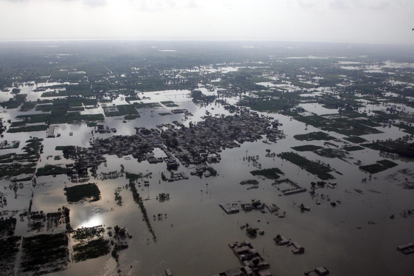Überflutetes Wohngebiet