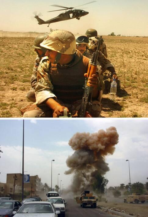 Soldaten und Explosion im Irakkrieg Krieg fordert nicht nur Menschenleben, sondern zerstört auch die Umwelt |  Bild: © U.S. Government [Public Domain]  - Wikimedia Commons