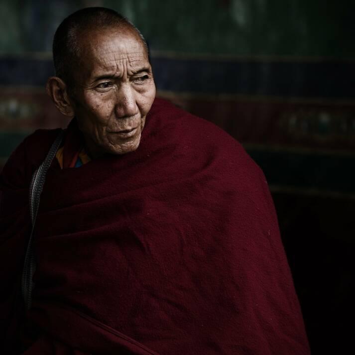 Ein skeptischer Blick in die Zukunft: Dieser Tibetische Lama (Mönch) ist einer von vielen älteren Tibetern, die nun unvermittelt mit massiven Veränderungen ihres Lebensstils konfrontiert sind. |  Bild: © smokefish [Pixabay License]  - pixabay