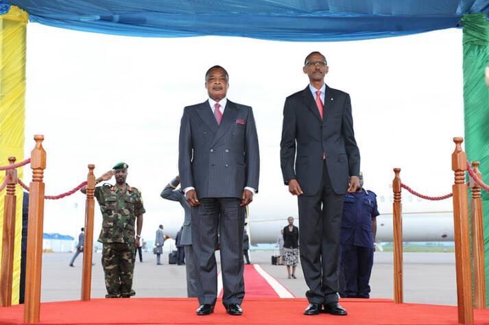 Denis Sassou-Nguesso - präsident der Republik Kongo Denis Sassou-Nguesso (links im Bild) stand bei den Präsidentschaftswahlen wieder zur Wahl    Bild: © Paul Kagame [CC BY-NC-ND 2.0]  - Flickr